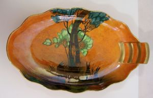Carlton Ware 'Rabbits At Dusk' (Shadow Bunny) Oval Scallopped Dish - 1930s